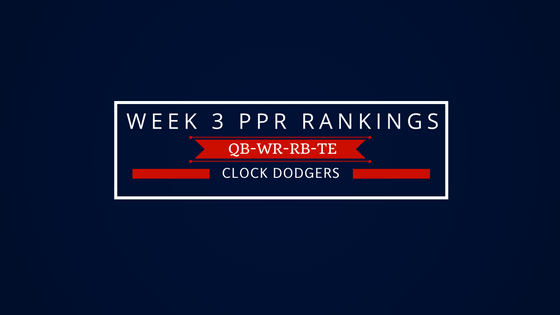 Week 3 PPR Rankings